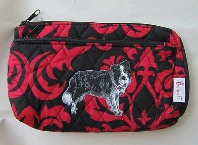 Q cosmetic BORDER COLLIE Quilted Damask Red Double Zipper Fabric Cosmetic Bag