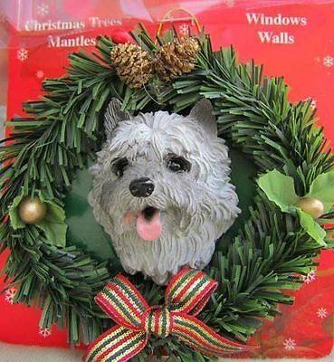 Wreath Dog Xmas Ornament CAIRN TERRIER Pine Wreath RETIRED