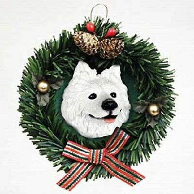 Wreath Dog Xmas Ornament SAMOYED Pine Wreath RETIRED
