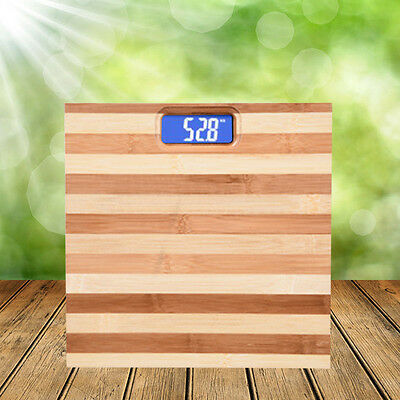 Bamboo Wooden Digital LCD Electronic Scale Body Weight Fat Fitness Weight 180KG