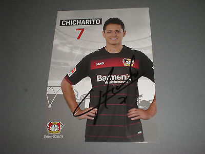 Chicharito Mexiko  worldcup soccer  signed Autogramm postcard in person