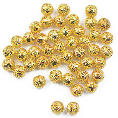 100x Gold Plated Round Ball Filigree Spacer Beads Charms Connector Crafts 8mm