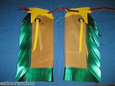 Child Kids Toddler Rodeo Chaps Chap Mutton Bustin 791314 Yellow Gold Green