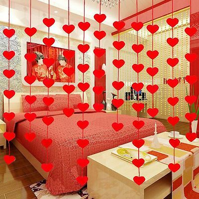 New String Curtain Red Hearts Wedding Decor Drape Panel DIY Home Divider 1 Bag