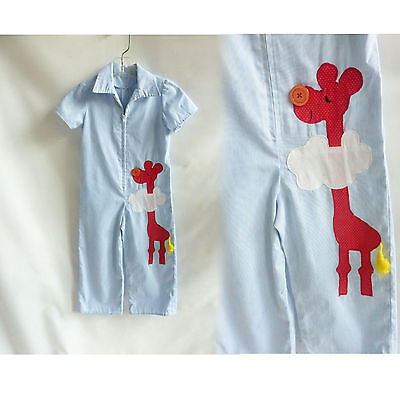 Vintage Child's Jumpsuit Overalls Giraffe  Red Blue Pinstripe Pants Girls Boys 6