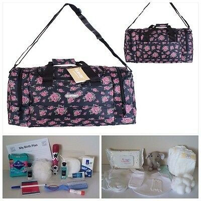 "BUDGET Pre-packed Hi-Tec Floral 18"" Maternity Hospital Bag Mum & Baby (unisex)"