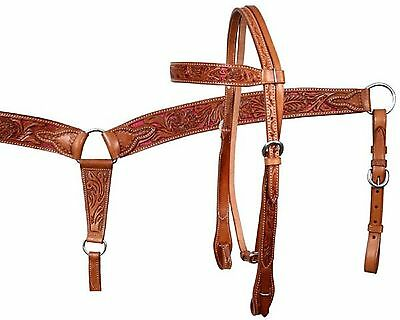 PINK Glitter Inlay Western Tooled Leather Bridle & Breast Collar Horse Tack Set