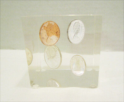 Canadian Coins 1968 Embedded In Lucite Or Acrylic Paperweight Cube Vintage $