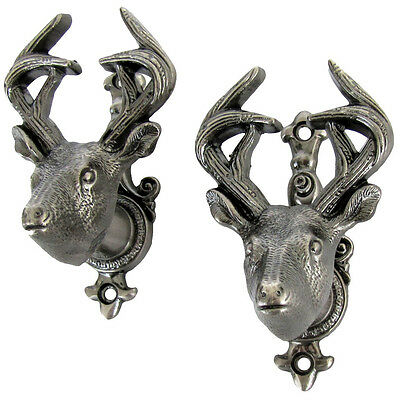 Buck Deer Wall Mount Weapon Hooks Gun Rifle Holder Bowie Knife Sword Hanger Set