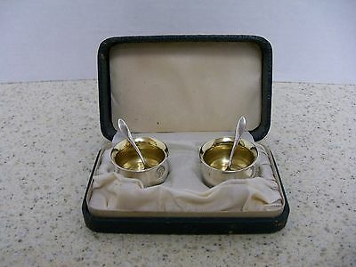 Antique National Silver Salts Set-Boxed With Spoons-Antique Collectibles  (S)