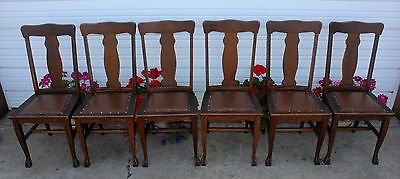 Antique Set of 6 Quartersawn Oak Claw Foot T-Back Dining Room Kitchen Chairs OLD