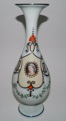 "Antique Hand Painted Hand Blown Glass Vase w/ Cameo and gold leaf 11"" Unmarked"