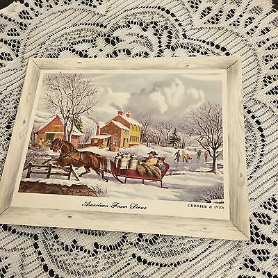 Vintage Greeting Card Christmas Currier And Ives House America