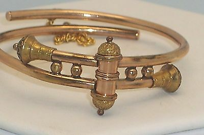 Antique Victorian Etruscan Revival Bypass Hinged Bracelet With Chain