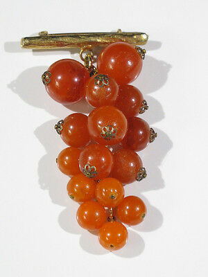 Vintage Lucite Pin Brooch Dangling Cluster Orange Grapes with Goldtone Branch