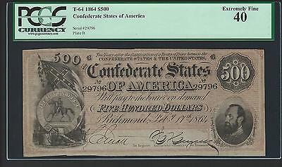 1864 $500 Confederate Note T-64 Graded PCGS EXREMELY FINE 40