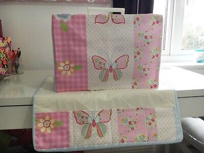 ❤️Clarke & Clarke❤️ Butterfly Stripe Fabric Sewing Machine Cover & Matching Mat