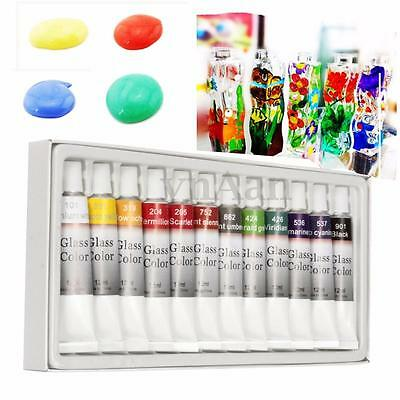NEW 12 Color Stain Glass Paint Tubes 12ml set Glass Non Toxic Painting kit