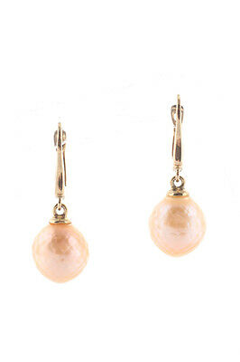 Designer Faceted Peach Pearl 14kt Yellow Gold Drop Earrings