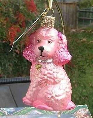 Old World Christmas POODLE Pink Blown Glass Tree Ornament