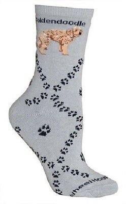 Adult Size Medium GOLDENDOODLE Adult Socks/Gray Made in USA