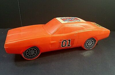 Vintage 1981 Dukes Of Hazzard General Lee Orange Plastic Toy Car Bank - Aj Remzi
