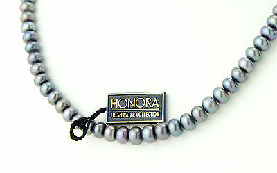 "Vtg Sterling Silver 17"" Honora Freshwater Collection Black Pearls Necklace"