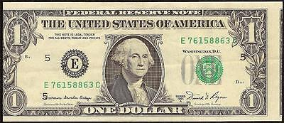 1981 A $1 Dollar Bill Misaligned Face Printing Error Note Currency Paper Money
