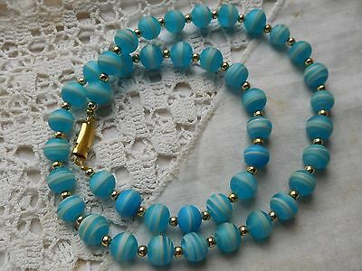Beautiful Vintage 1960s Venetian Turquoise Blue Glass Bead Necklace