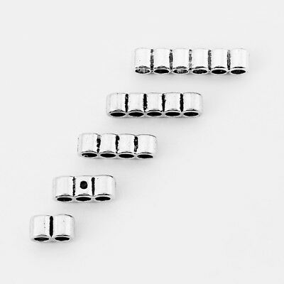 20pcs Antique Silver Row/Strand Barrel Sliders Beads for 3mm Round Leather Cord