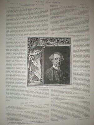 The Late John Alexander MacDonald Prime Minister Canada 1891 old print & article
