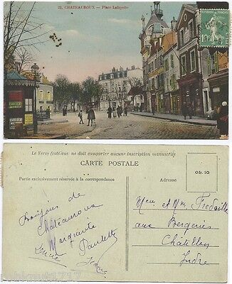CPA postcard commerces Place Lafayette CHATEAUROUX 36 Indre [1135 R]