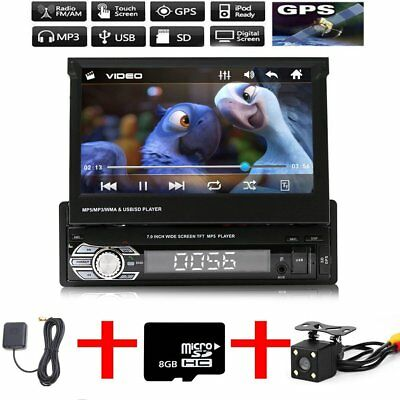 "1 Din Single 7"" HD Touch Screen Car Stereo Bluetooth Radio MP5 GPS + Camera+Map"