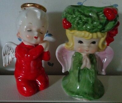 Vtge angel Japan boy red kissing sleeping gold halo crazing & Lefton candle hold
