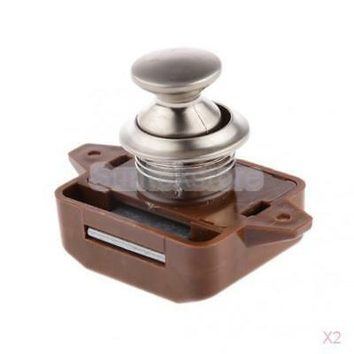 2x Push Button Lock 26mm for Cabinet Desk Drawer Cupboard Mailbox Brown