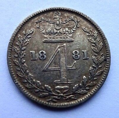 Victoria Young Head 1881 Maundy Fourpence/Groat F+