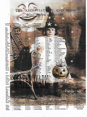 HALLOWEEN WTICH GIRL ABBREVIATIONS SIGNS COLLAGE*Quilt * Fabric block*5X7 INCH