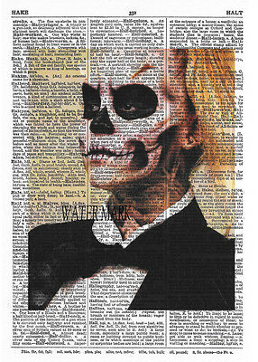 HALLOWEEN SKELETON DICTIONARY PAGE COLLAGE*SPOOKY*Quilt * Fabric block*5X7 INCH