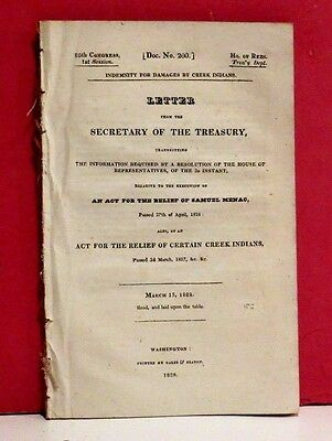 HR-Indemnity for Damages by Creek Indians and Relief of Samuel Menac - 1828