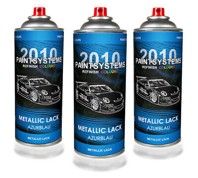 (€10,75/L) Autolack Lackspray 3x 400 ml - azurblau metallic