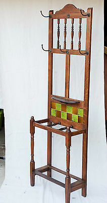 Antique English Warm Oak Wood Hall Tree Coat Rack Stand 1880 Tile