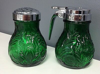 MOSSER GLASS Green Cut Glass 2 Pc Set Syrup Container Powdered Sugar Shaker SR