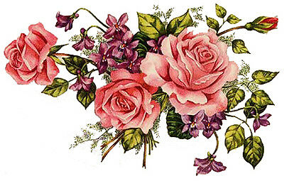 NeW! PinK TeA RoSeS & VioLeTs SpRaYs SHaBbY WaTerSLiDe DeCALs
