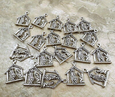 20 Pewter Nativity Scene Charms - 5140