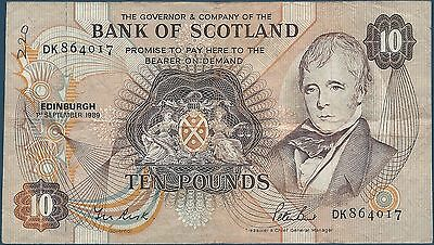 ECOSSE - SCOTLAND - 10 POUNDS - 01.09.1989 - BILLET DE BANQUE // Qualité: TTB