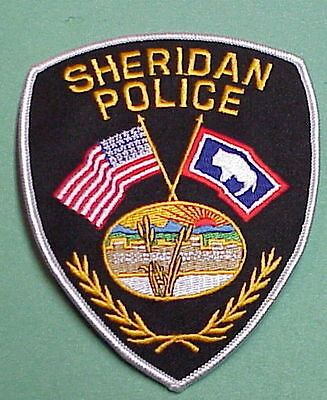 Sheridan  Wyoming  Wy  ( Silver Border )  Police Patch   Free Shipping!!!
