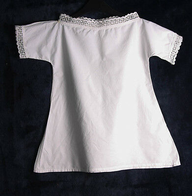 Vintage Antique Childs White Cotton Nighty Nightdress Broderie Anglaise
