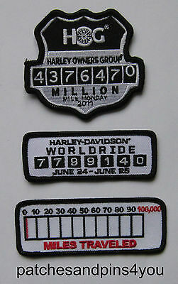 Harley Davidson HOG Million Mile Monday/Worldride/Miles Travelled Patches New!