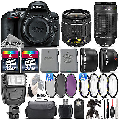 Nikon D5300 24.2MP DSLR Camera + 18-55mm VR Lens + Nikon 70-300mm Lens- 64GB Kit