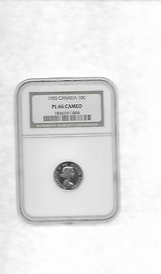 1955 Canada Ten Cents Ngc Pl-66 Cameo